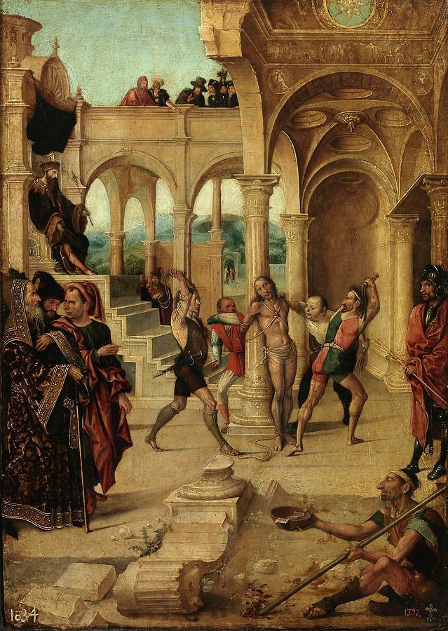 alejo fernandez the flagellation 1500 1505 spanish school painting by alejo fernandez c 1475 c 1545 fine art america