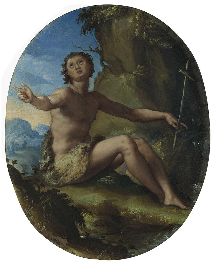 Alessandro Allori  Florence 1535-1607  Saint John The Baptist In The Wilderness Painting