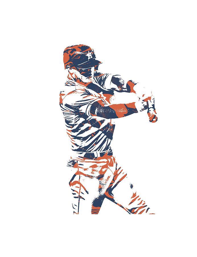 Alex Bregman Mixed Media - Alex Bregman Houston Astros Pixel Art Tshirt 3 by Joe Hamilton