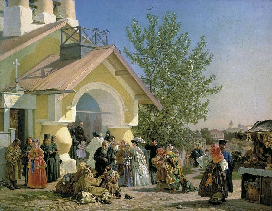 Alexander Ivanovich Morozov - Leaving Church In Pskov Painting