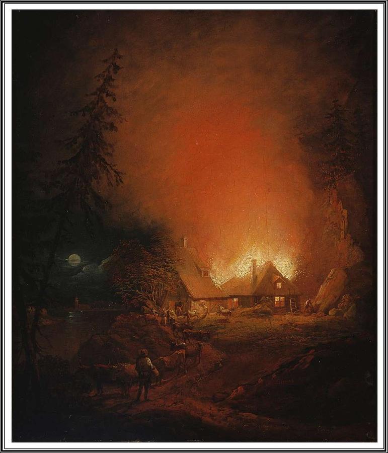 Nature Painting - Alexander Lauraeus 1783-1823, La Ferme En Feu Dans La Nuit - 1809 by Alexander Lauraeus