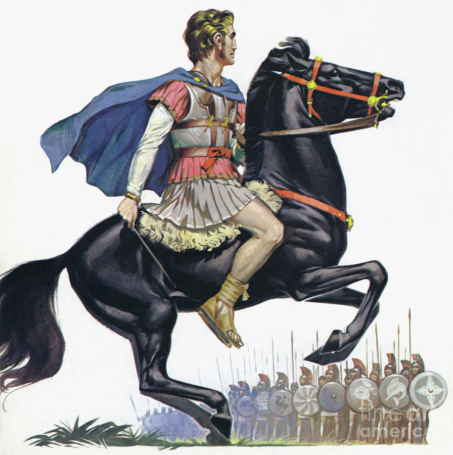 Alexander The Great on his horse Bucephalus Painting by Angus McBride