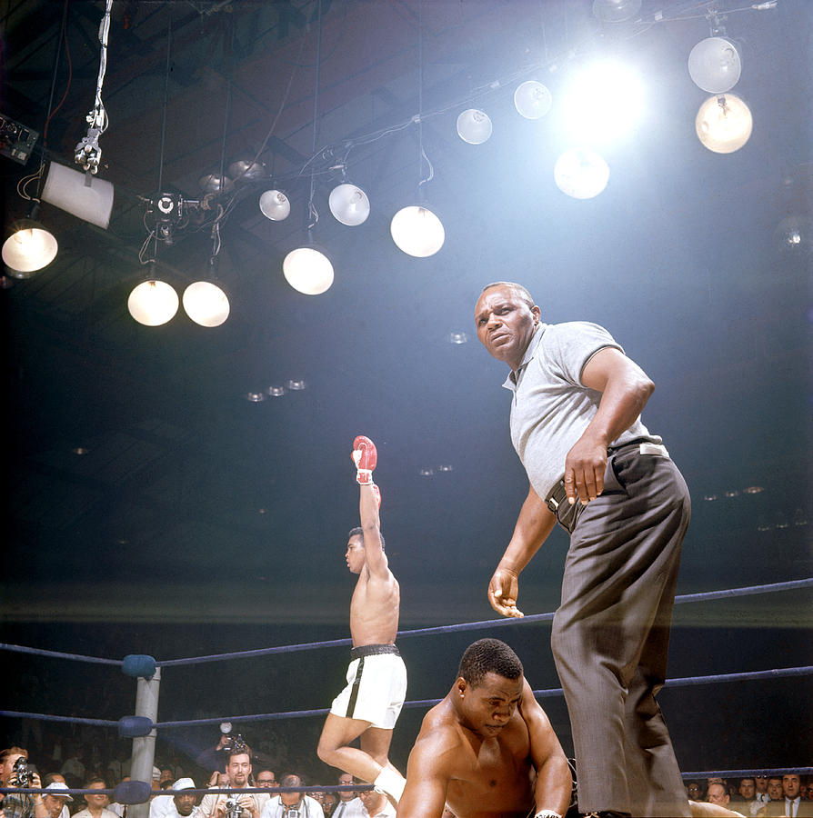 Ali Celevrates As Liston Struggles Photograph by John Dominis