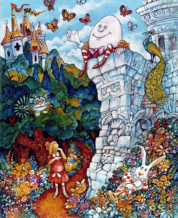 ALICE IN WONDERLAND /& HUMPTY DUMPTY WALL LEWIS CARROL CANVAS PAINTING ART PRINT