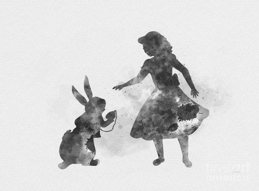 Alice And White Rabbit Black And White Mixed Media By My Inspiration