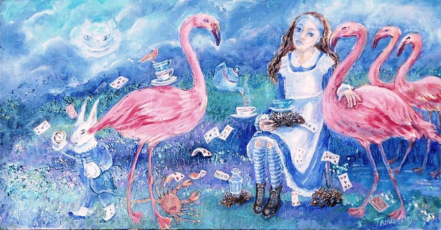 Alice In Wonderland -flamingo Croquet Anyone ? Painting by ...