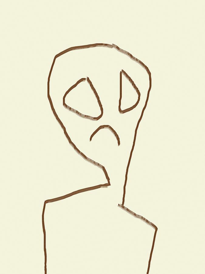Alien Face Line Art 02 by Prakash Ghai