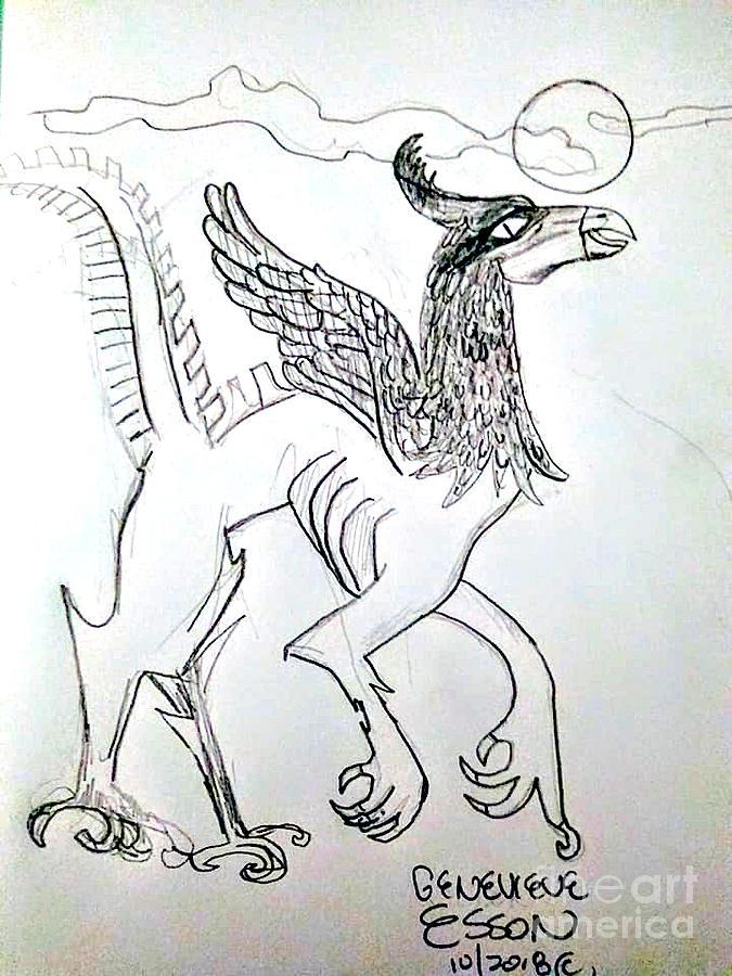 Alien Drawing - Alien by Genevieve Esson