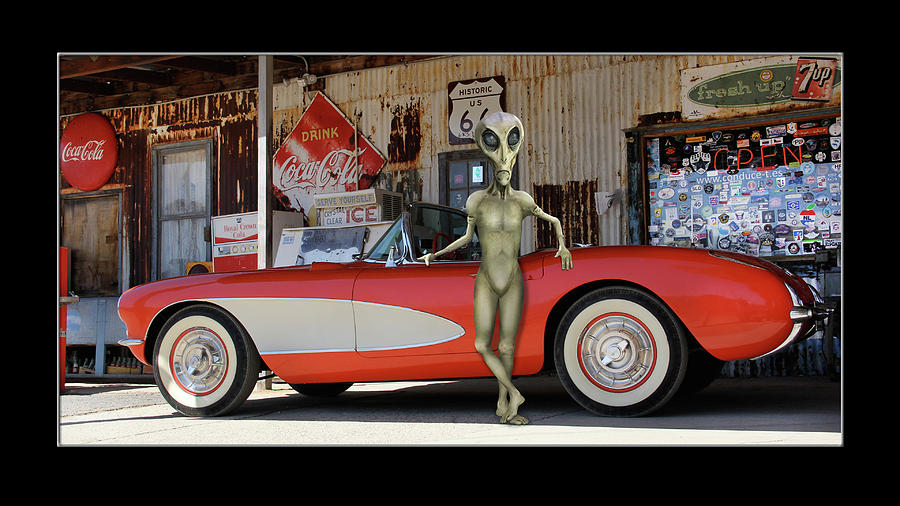 Alien Vacation Classic Vette on Route 66 by Mike McGlothlen