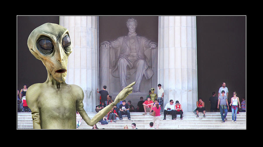 Alien Vacation - Lincoln Memorial, D C by Mike McGlothlen
