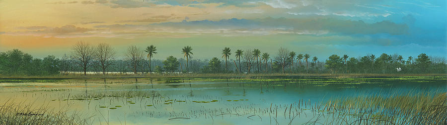 Florida Marsh Painting - Alligator Alley by Mike Brown