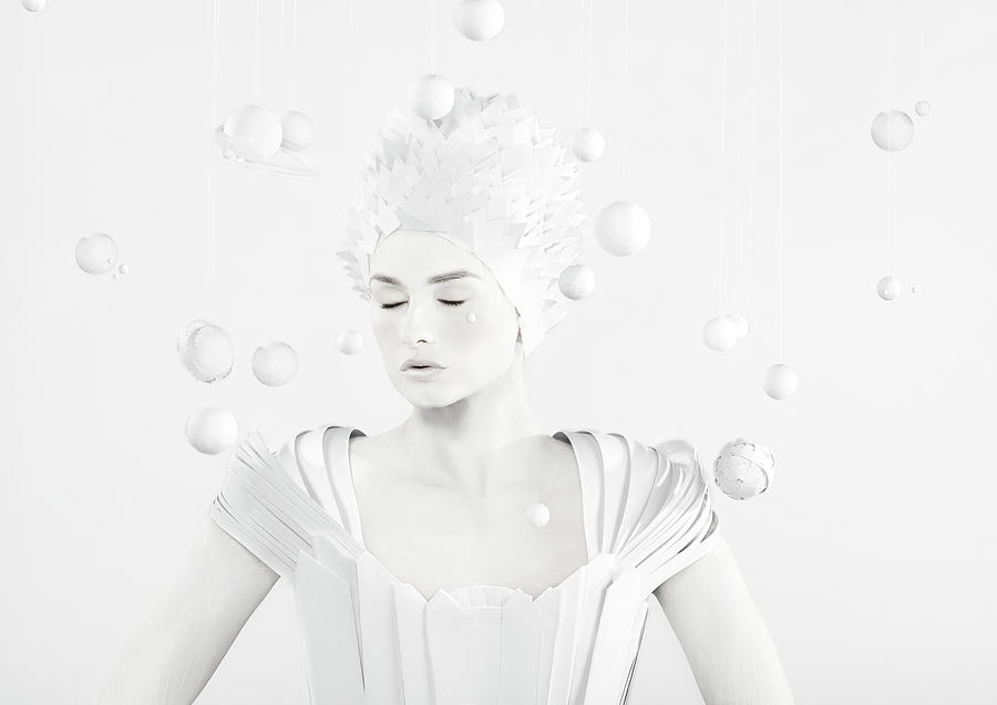 People Photograph - All White Woman In The Center Of Planets by Paper Boat Creative