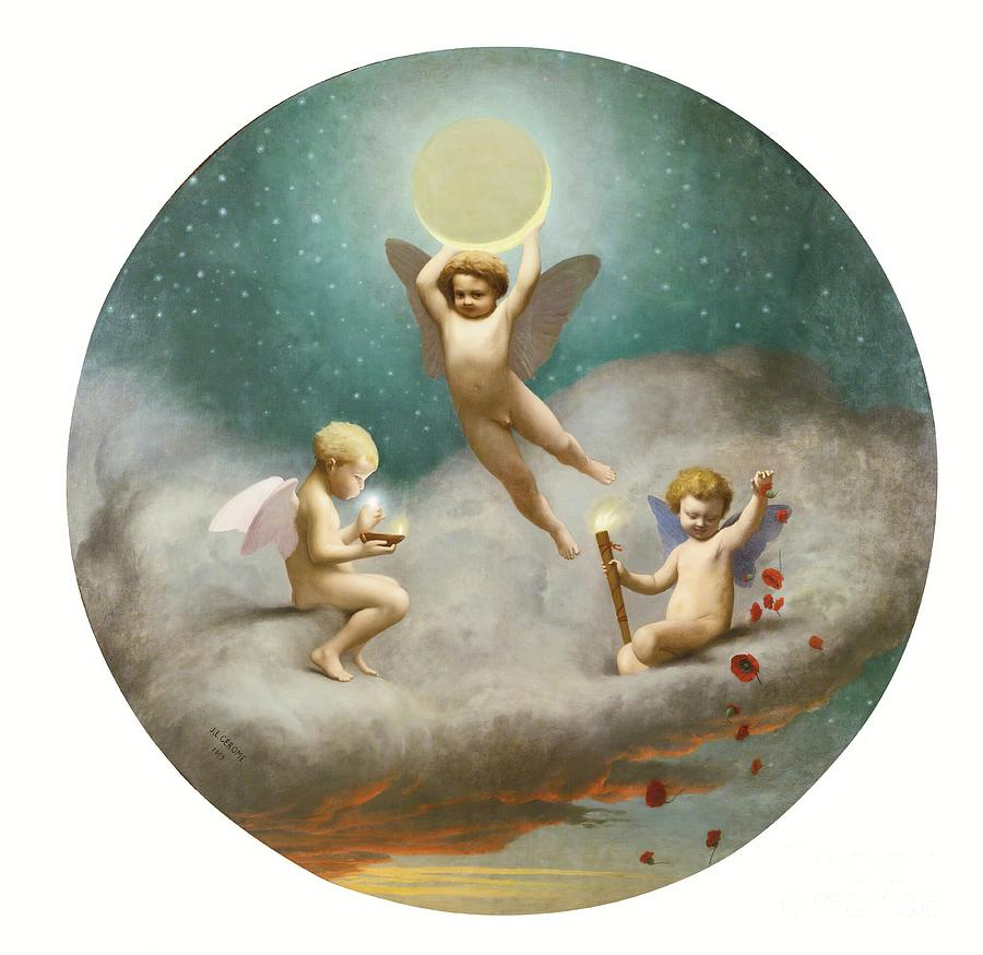 Angels Painting - Allegory Of Night, 1859 by Jean Leon Gerome
