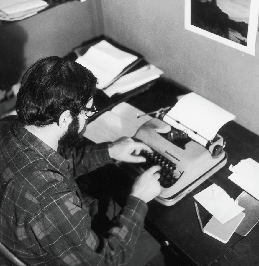 Allen Ginsberg At The Typewriter Photograph by Fred W. McDarrah