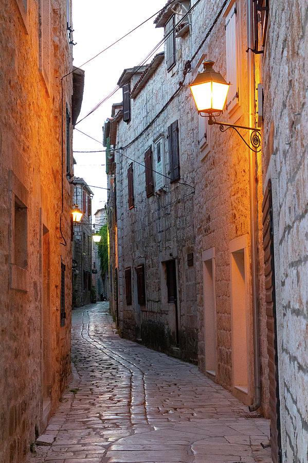 Alley Photograph - Alleyway at Sunrise, Croatia by Tina Walsh