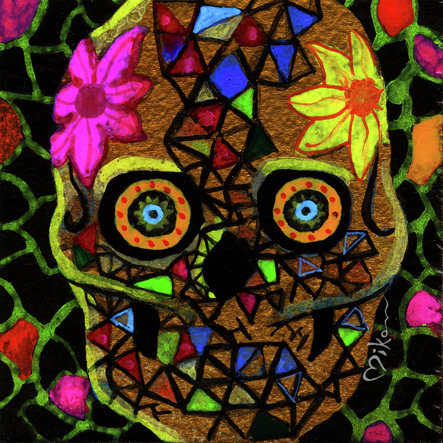 Day Of The Dead Painting - Alma, Sugarskull by Miko Zen