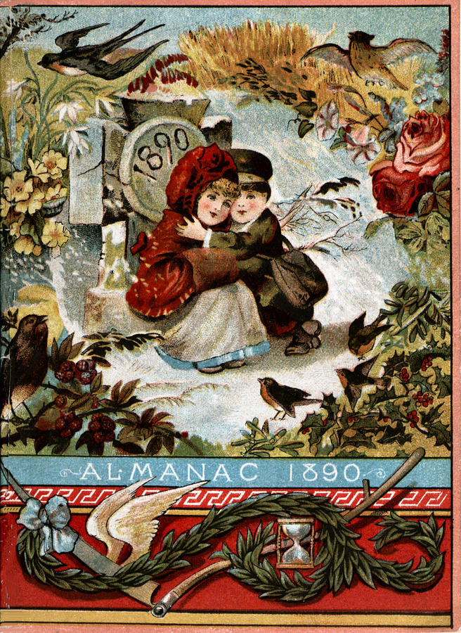 Almanac 1890 Vintage Advertising Winter Scene by Vintage Advertising Designs