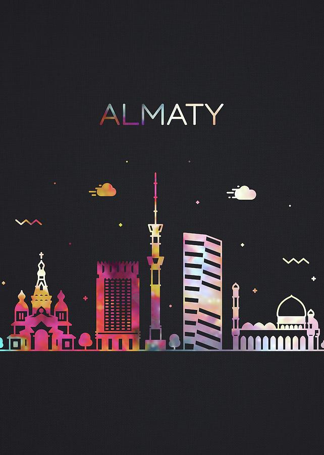 Almaty Mixed Media - Almaty Kazakhstan City Skyline Whimsical Fun Dark Tall Series by Design Turnpike