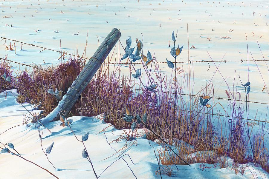 Landscape Painting - Along The Fence Line by Valerie Spence Hounsell