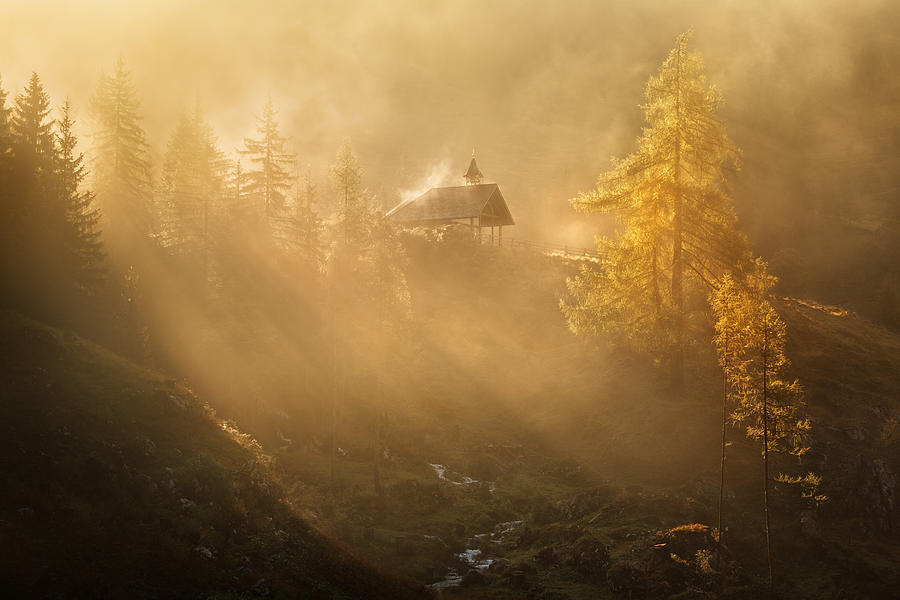 Austria Photograph - Alpine Church In The Morning Fog by Daniel ?e?icha