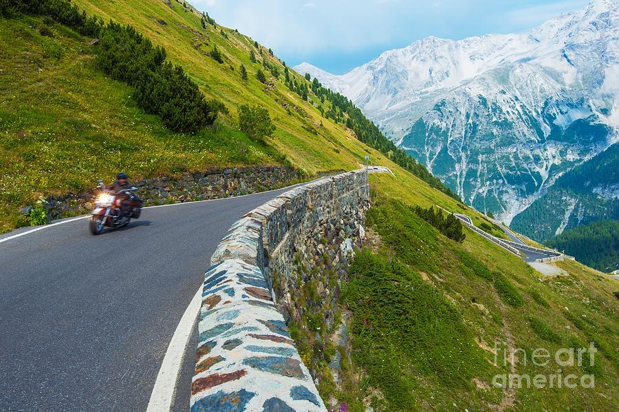 Curved Photograph - Alpine Road Biker. Motorcycle On The by Welcomia