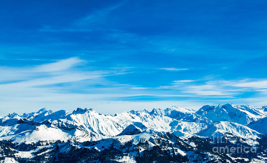 Alps Photograph - Alps Mountain Landscape. Winter by Ewa Studio