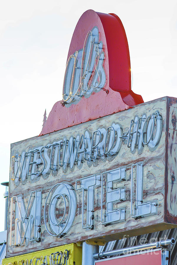 American Photograph - Als Westward Ho Motel Neon Sign West Yellowstone by Edward Fielding