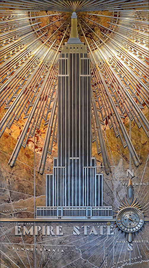 Aluminum Relief Inside The Empire State Building - New York by Marianna Mills