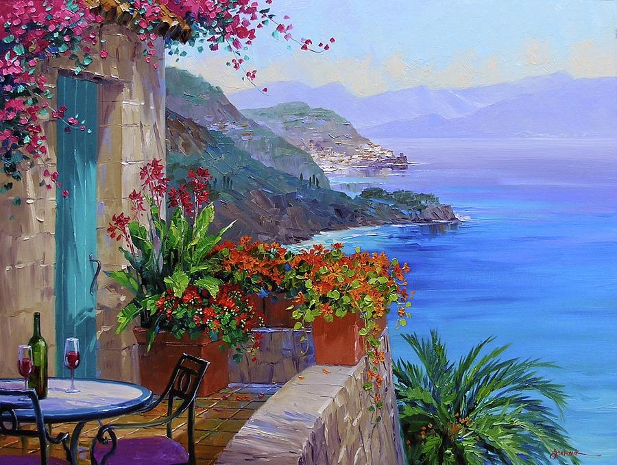 Amalfi Coast Painting - Amalfi Splendor by Mikki Senkarik