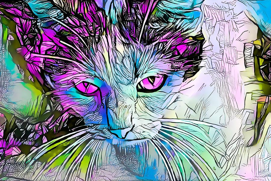 - Amazing Coloring Book Cat Purple Eyes Digital Art By Don Northup