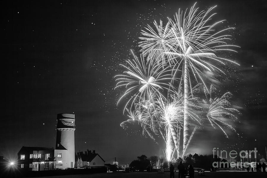 Amazing fireworks at night over lighthouse by Simon Bratt Photography LRPS