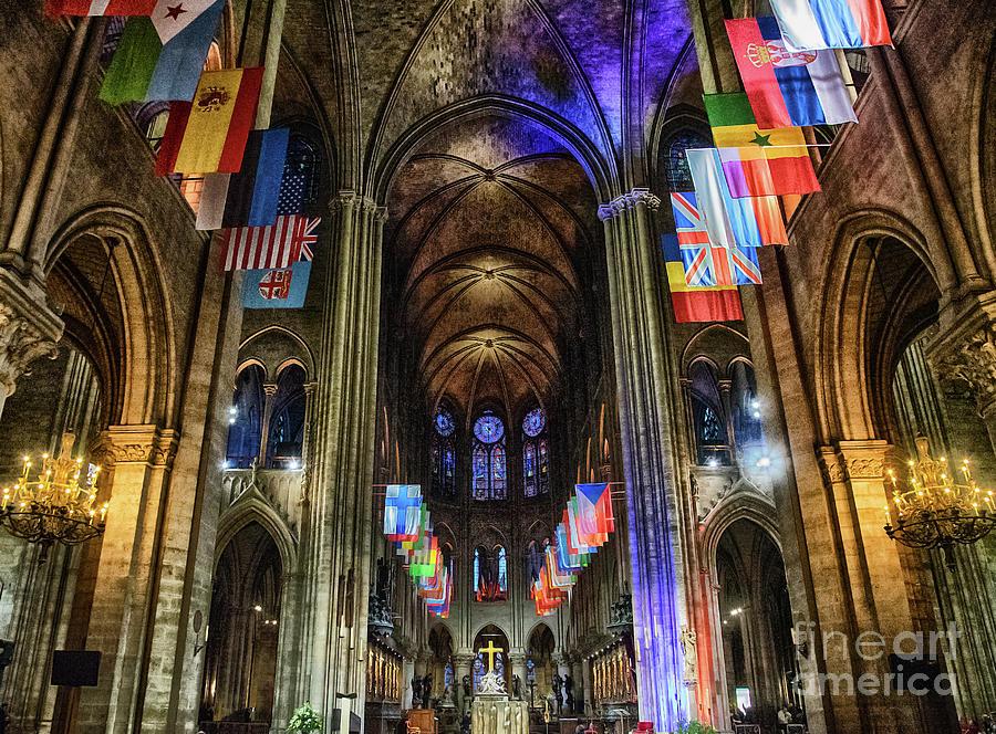 Amazing Interior Cathedrale Notre Dame De Paris France Before Fire by Wayne Moran