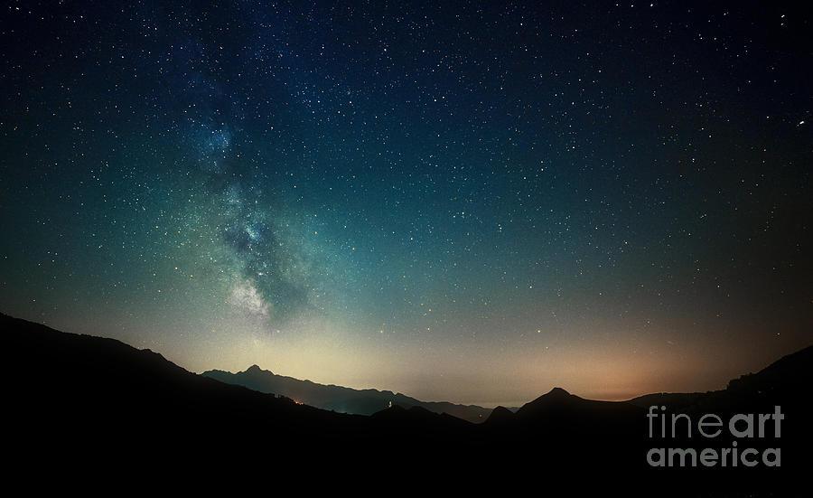 Tuscany Photograph - Amazing Night Sky Stars Panorama by Gianni Triggiani