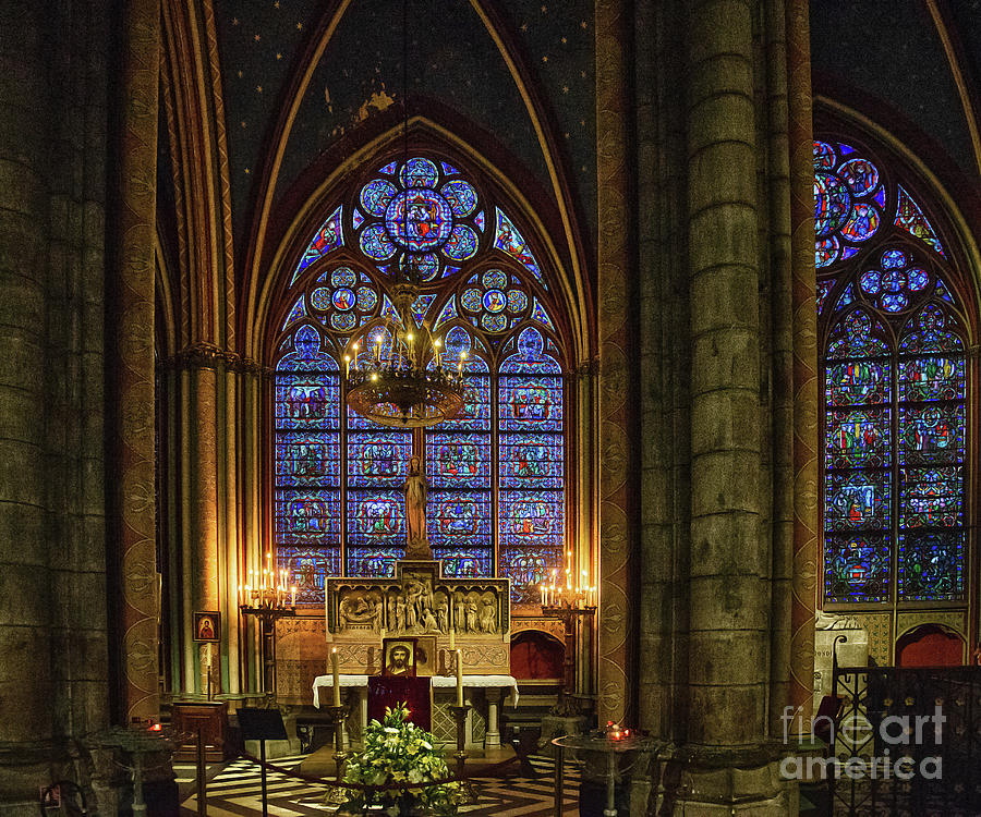 Amazing Stained Glass Details Cathedrale Notre Dame De Paris France Before Fire by Wayne Moran