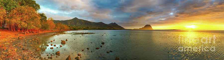 Mauritius Photograph - Amazing view of Le Morne Brabant at sunset. Mauritius. Panorama by MotHaiBaPhoto Prints