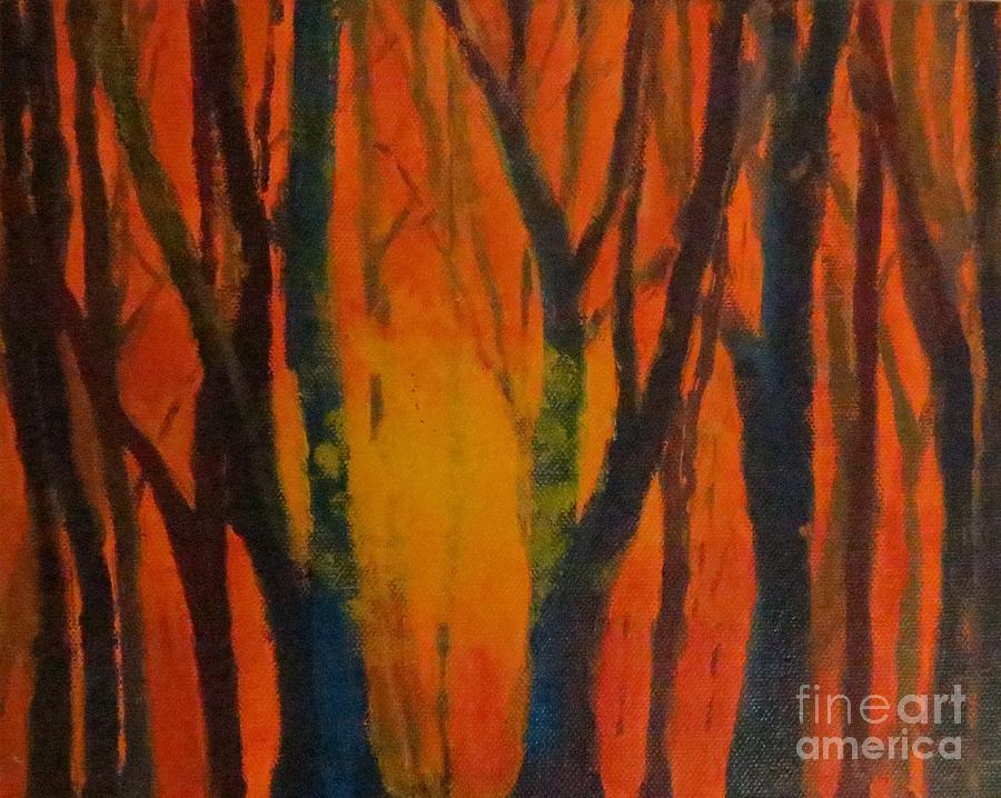 Amber Painting - Amber Tree  by Caroline Cunningham