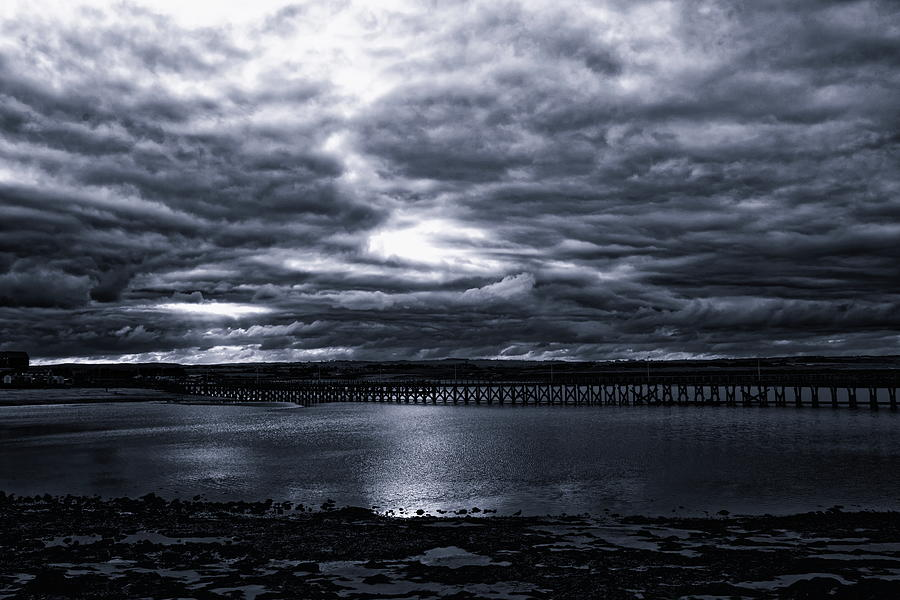Amble Pier At Night Monochrome by Jeff Townsend