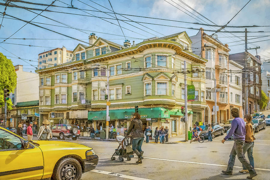Ameriana busy street corner in San Francisco   by Manny DaCunha