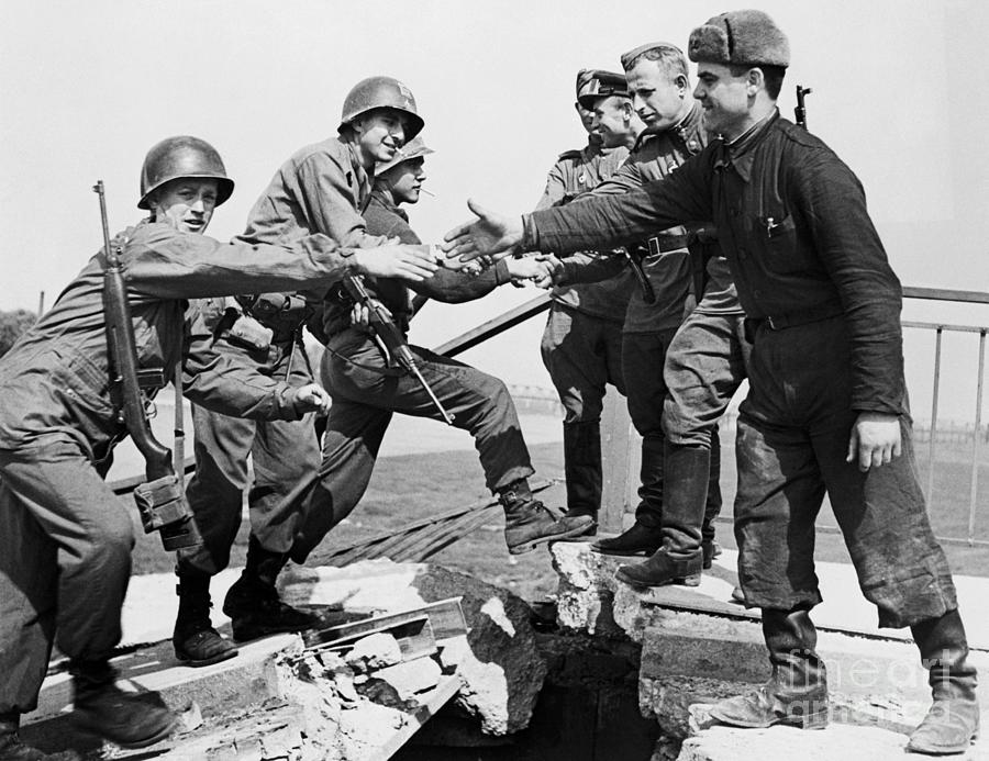 American And Russian Troops Meeting Photograph by Bettmann