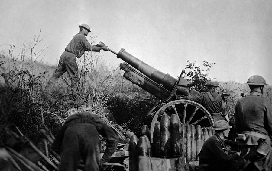 Artillery Photograph - American Artillery Troops In Action - France WW1 by War Is Hell Store
