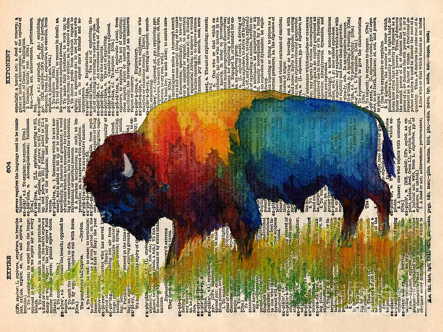 American Buffalo IIi On Vintage Dictionary Painting