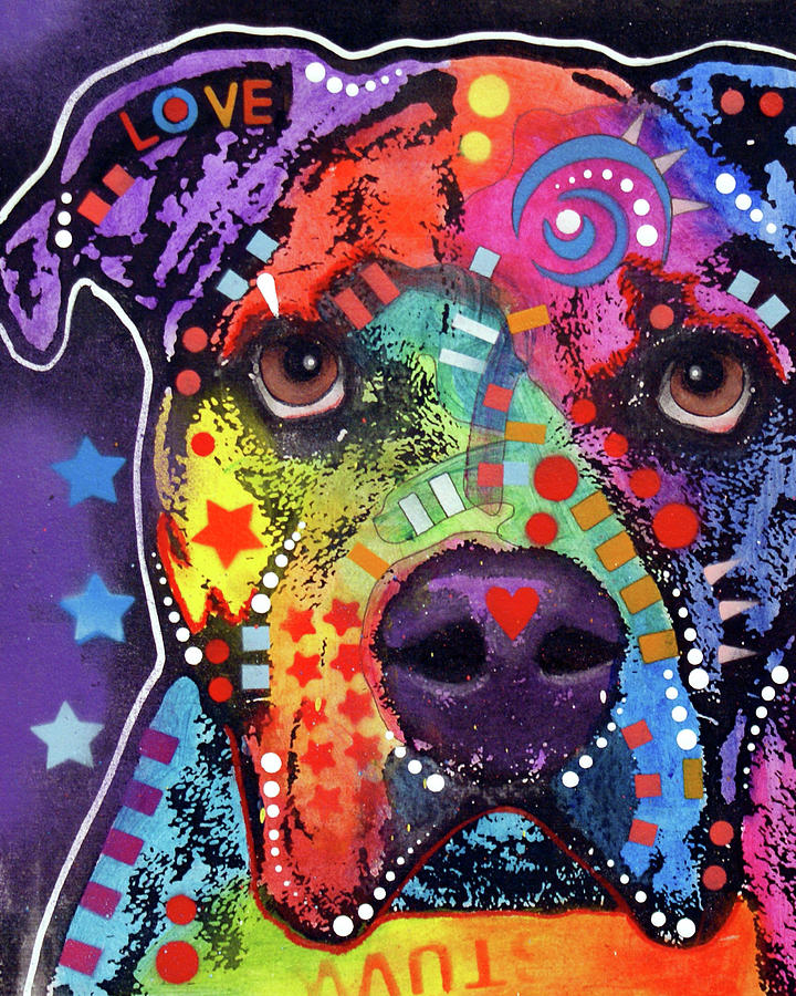 Domestic Dogs Mixed Media - American Bulldog 121609 by Dean Russo
