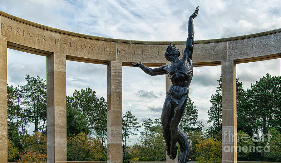 American Cemetery and Memorial Omaha Beach Normandy France Memorial Statue by Wayne Moran