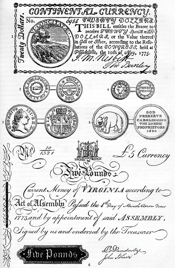American Coins And Paper Money Drawing by Print Collector