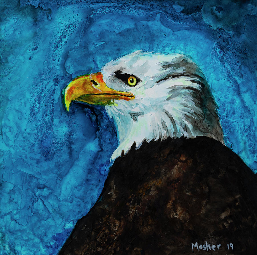 American Eagle Portrait Painting by Rick Mosher