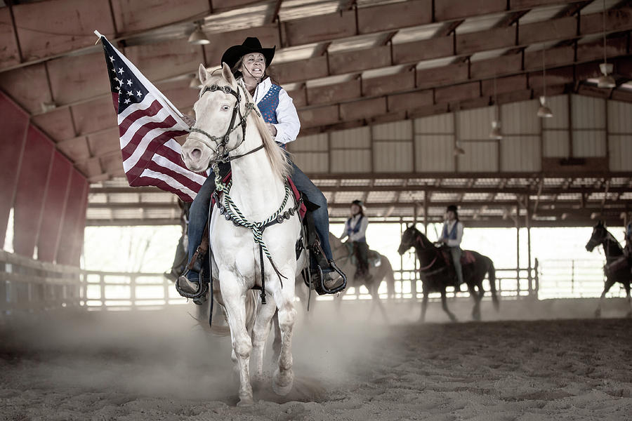 American Flag and Rider by Anett Mindermann