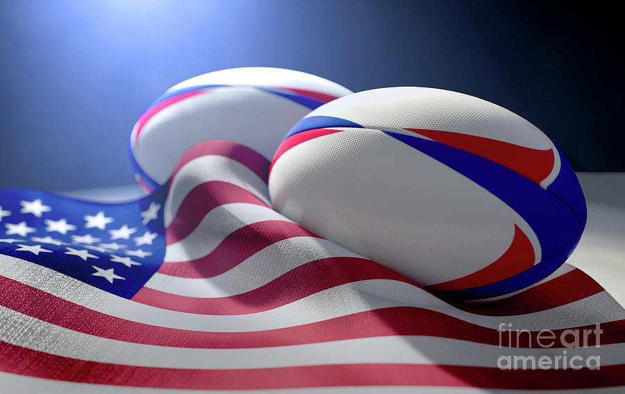 Rugby Digital Art - American Flag And Rugby Ball Pair by Allan Swart