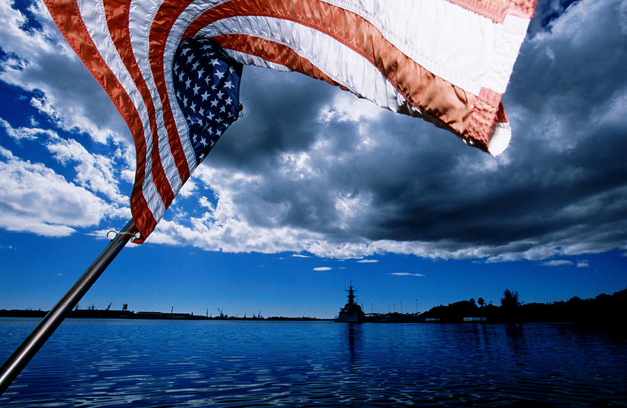 American Flag And Uss Missouri At Pearl Photograph by Holger Leue