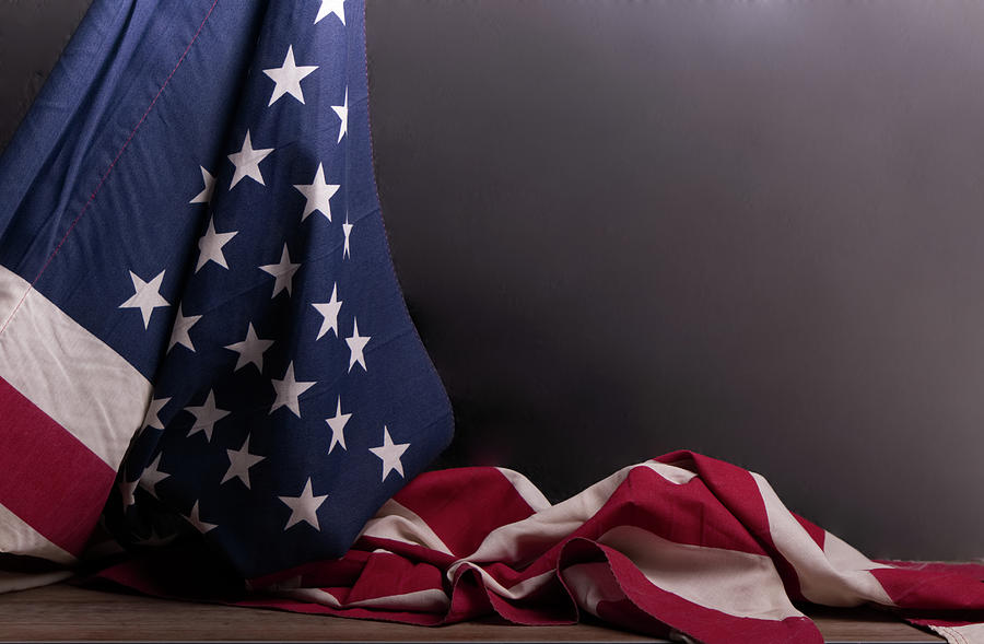 American flag draped on itself by Vincent Billotto