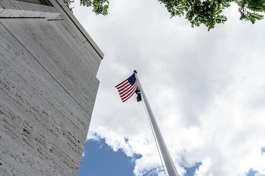 American Flag from Below at National Cemetery by Brian Johnson